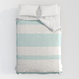 Mixed Horizontal Stripes - White and Light Cyan Comforters