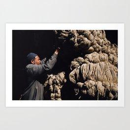 Man carrying wool Art Print