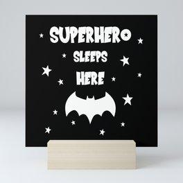 Superhero Sleeps Here (Black) Mini Art Print