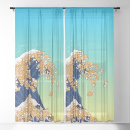 Shiba Inu in Great Wave Sheer Curtain