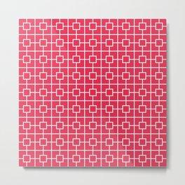 Amaranth Red Square Chain Pattern Metal Print