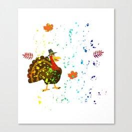 Gobble Til You Wobble Thanksgiving Rainbow Splatter Canvas Print