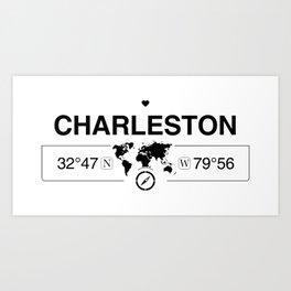 Charleston South Carolina GPS Coordinates Map Artwork Art Print