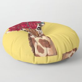 Giraffe with Rose Flower Crown in Yellow Floor Pillow