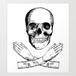 Skull and Mechanical Arms Art Print
