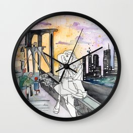 Kissing on the Bridge Wall Clock