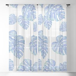 Blue Green monstera leaf, botanical, plant lover, must have gift Sheer Curtain