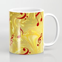 red music notes in golden festive paper background Coffee Mug