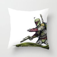 boba fett Throw Pillows featuring Boba Fett by NickHarriganArtwork