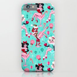 Christmas Candy Martini Pinup Girls iPhone Case