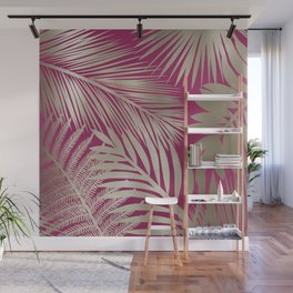 Tropical Palm Leaves, Pink and Gold Wall Mural