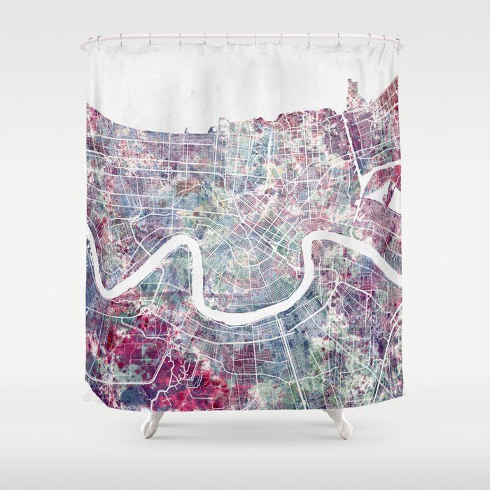 New Orleans Map Shower Curtain