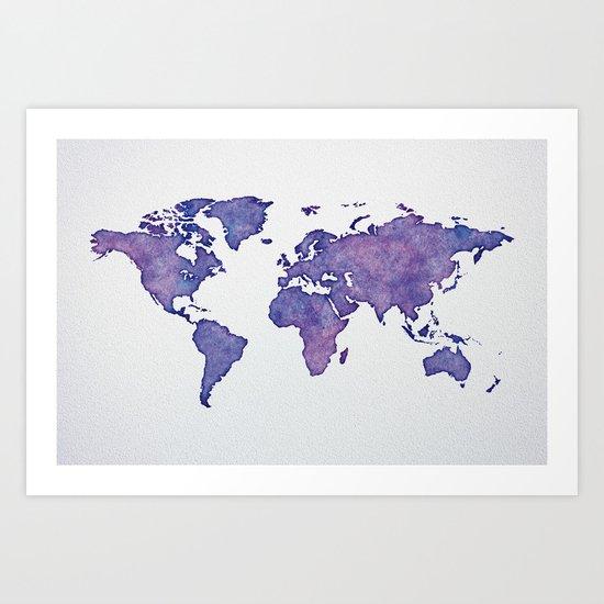 Purple World Map 02 Art Print