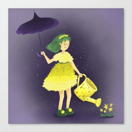 Girl in a fluffy yellow dress. Cute illustration. Canvas Print