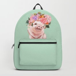 Baby Pig with Flowers Crown in Pastel Green Backpack