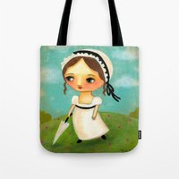 jane austen Tote Bags featuring Jane Austen by tascha