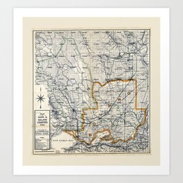 Map of Napa & Solano Counties, California (1913) Art Print