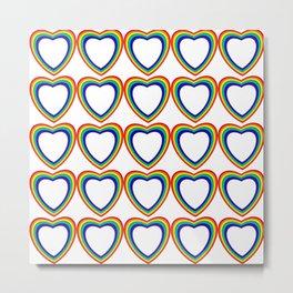 Rainbow Hearts White Background Metal Print