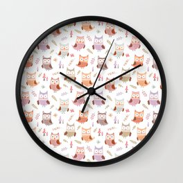 Cute pink lilac owls coral green floral illustration pattern Wall Clock