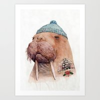 walrus Art Prints featuring Tattooed Walrus by Animal Crew