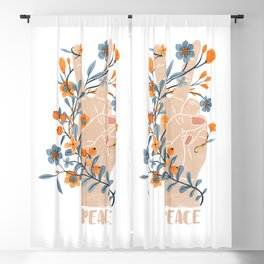 Peace Sign With Orange Flowers, Blue Flowers And Vines Blackout Curtain