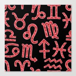 Zodiac signs seamless pattern. HoroscoZodiac signs seamless pattern.pe symbols. Astrology background Canvas Print