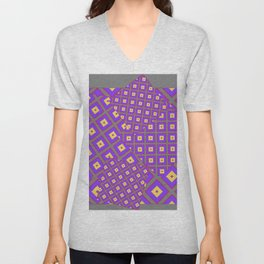 GREY PURPLE CREAM MODERN SQUARES ART Unisex V-Neck