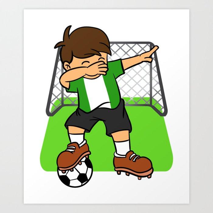 201e5eb70 Nigeria Soccer Ball Dabbing Kid Nigerian Football Goal Art Print by teepsy