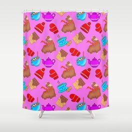 Cozy cute pink pattern. Happy llamas, sweet chocolate, mittens, hats, hot cocoa with marshmallows Shower Curtain