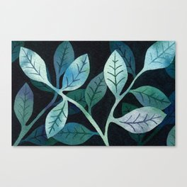 Watercolor leaves in shades of blue and teal Canvas Print