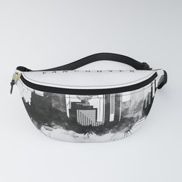 Black and White Vancouver City Skyline Fanny Pack