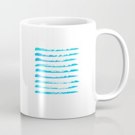 Turquoise blue stripes, hand painted rough texture Coffee Mug