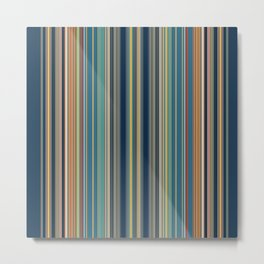 Blue and Gold Sky Stripes Metal Print