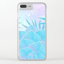 Pastel Rainbow Tropical Flower Paradise Design Clear iPhone Case