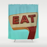 eat Shower Curtains featuring Eat by bomobob