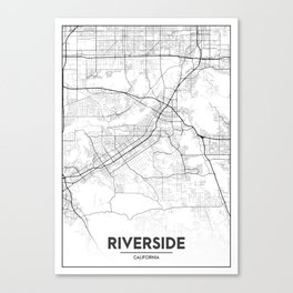 Minimal City Maps - Map Of Riverside, California, United States Canvas Print