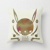 pirates Throw Pillows featuring 토끼해적단 TOKKI PIRATES by PAUL PiERROt