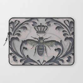 Pink and Gray Vintage Damask French Bee Laptop Sleeve