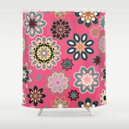 Flower retro pattern in vector. Blue gray flowers on pink background. Shower Curtain