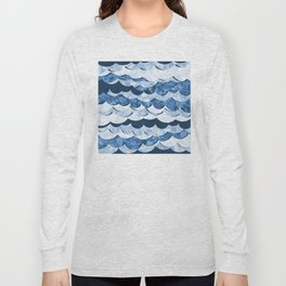 Abstract Blue Sea Waves Design Long Sleeve T-shirt