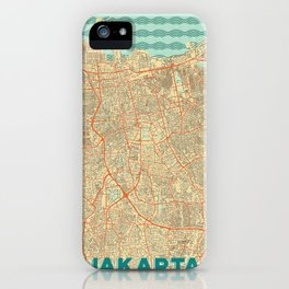 Jakarta Map Retro iPhone Case