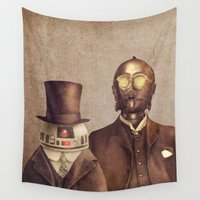 victorian Wall Tapestries featuring Victorian Robots  by Terry Fan