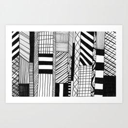 Mono Geo Lines Art Print