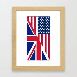American and Union Jack Flag Framed Art Print