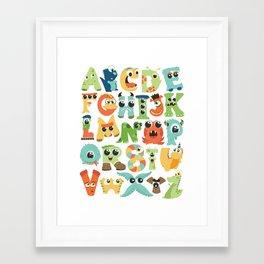 Cute monsters alphabet for boy's room monster alien critters illustrated characters Framed Art Print