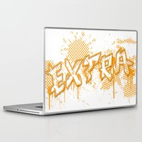grafitti Laptop & iPad Skins featuring extra splash orange grafitti design by sleepwalkerMTS