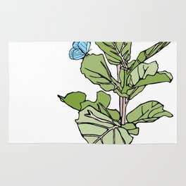 Lined Fig Tree and Blue Butterfly Rug
