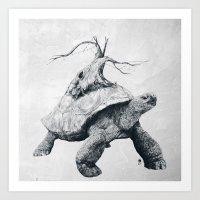 tortoise Art Prints featuring Tortoise Tree by Adam Dunt