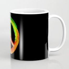 Green Orange Yellow Watercolor Tie Dye Peace Sign Coffee Mug