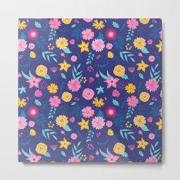 Modern dark slate blue neon pink yellow floral Metal Print